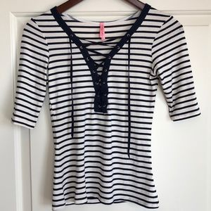 Eight Sixty lace up top